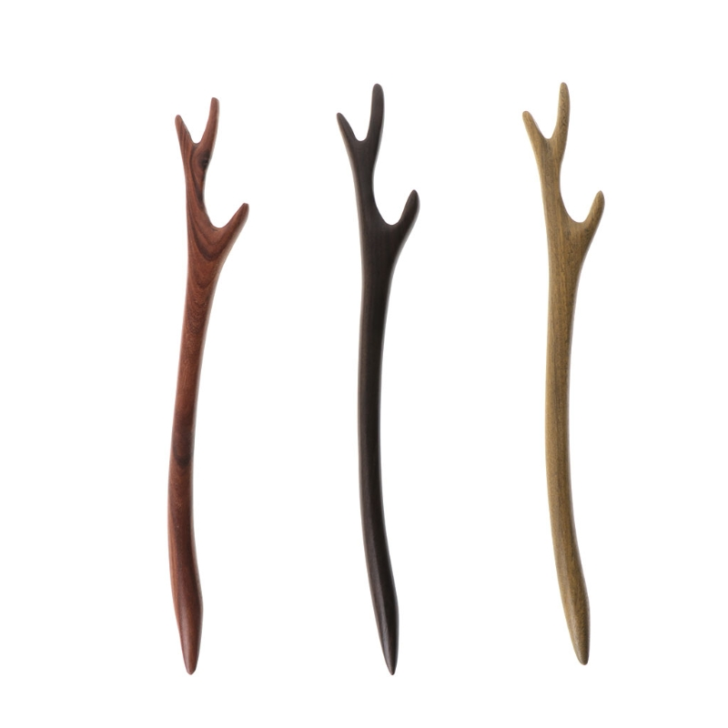 Ebony Hairpin Chinese Style Retro Hair Stick Antler Natural Wood Jewelry Vintage Exquisite Hair Accessories