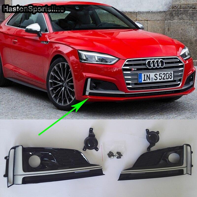 A5 S5 Black Front Fog Light Cover Grill Fog lamp Trim For Audi A5 S5 Sline 2017-2019A5 S5 Black Front Fog Light Cover Grill Fog lamp Trim For Audi A5 S5 Sline 2017-2019