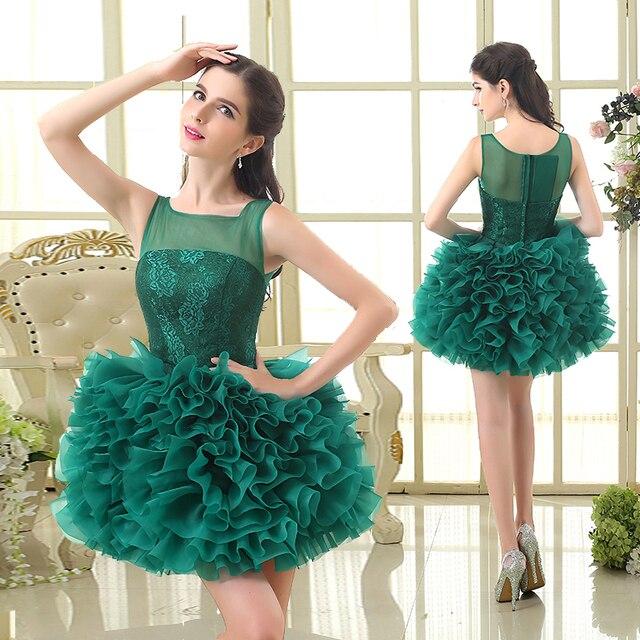 Short Green Dress Cocktail Dresses Appliques Ruffled Tulle Skirt