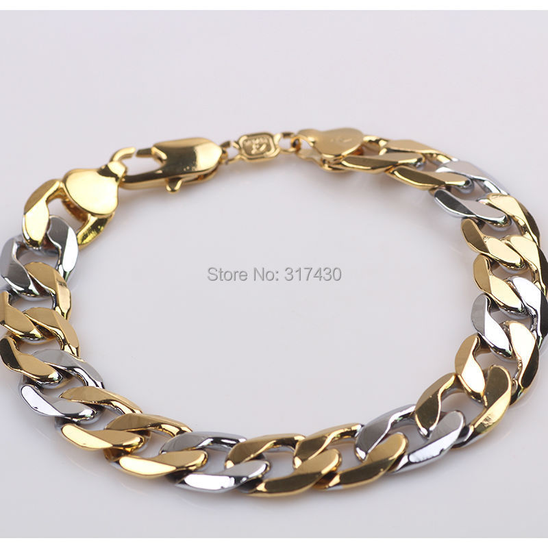 Mive Mens Bracelets 18k Yellow White Gold Filled 9 5 12mm Solid Curb Chain Link Fashion Gf Jewelry Free Shipping In From