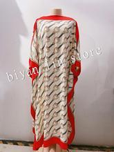 طول الفستان: 130 سنتيمتر الصدر: 130 سنتيمتر 2020 فساتين الموضة الجديدة بازين طباعة Dashiki المرأة فستان طويل/ثوب Yomadou اللون نمط المعتاد