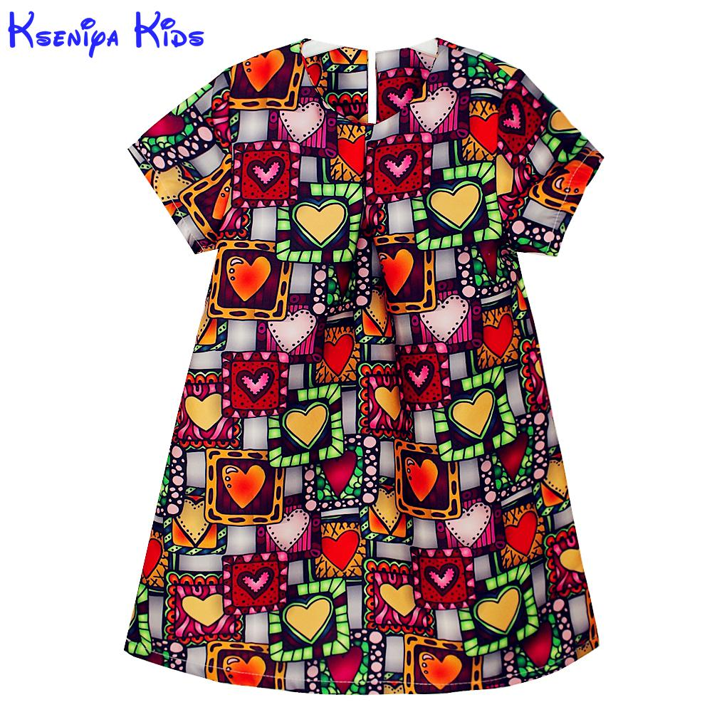 2016 New Girls Winter Dresses Love Graffiti Print Baby Girl Clothes Princess Dress A-line Kids Dresses Party Frocks For Kids