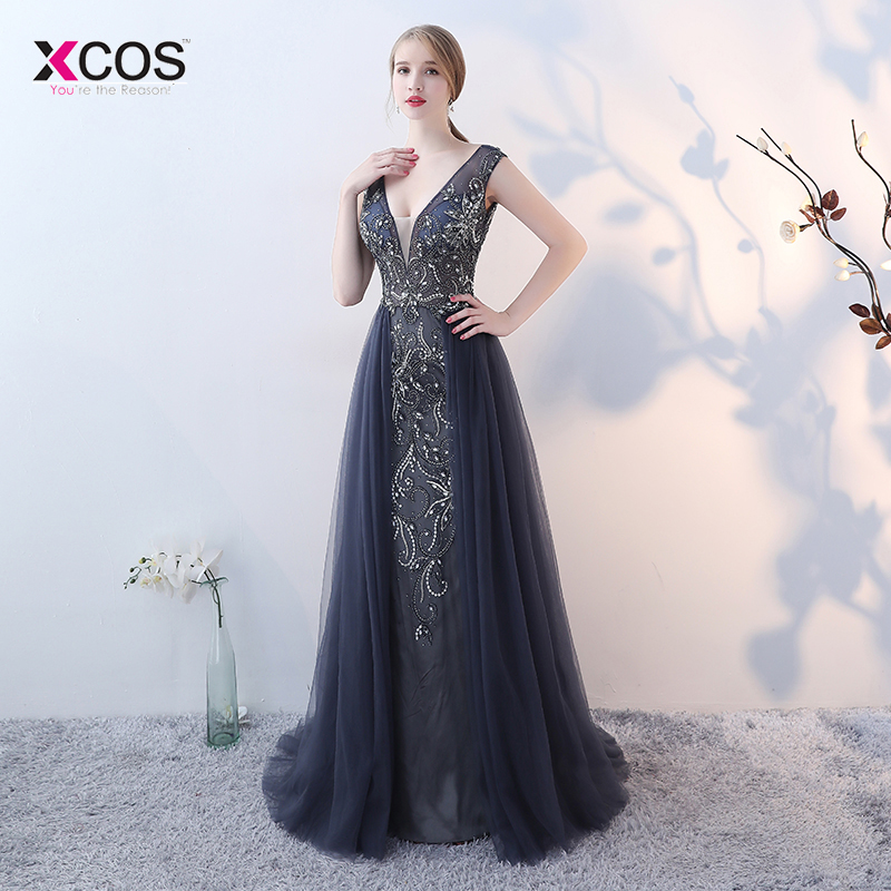 Magnifique a-ligne col en V de luxe perles robe de soirée longue Tulle Wrap robe formelle Vestido de Festa étage longueur robe de bal
