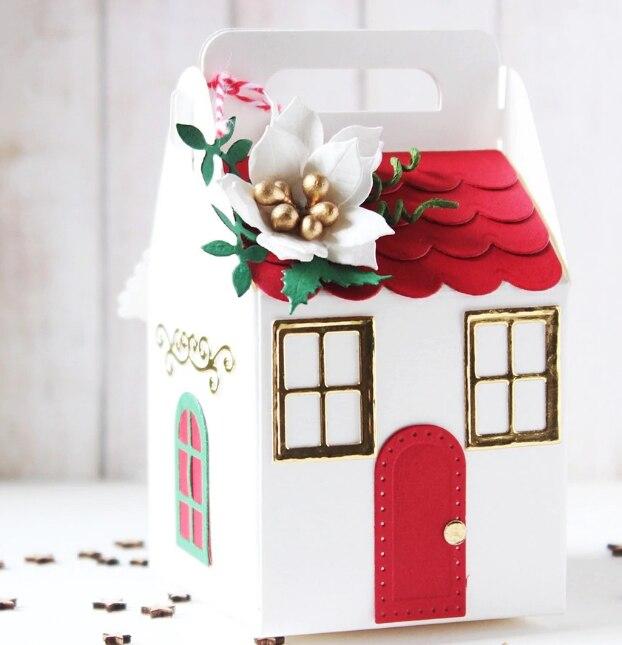 2018 Christmas COTTAGE BOX Metall Schneiden Stirbt Schablonen für DIY Scrapbooking/foto album Dekorative Präge DIY Papier Karten