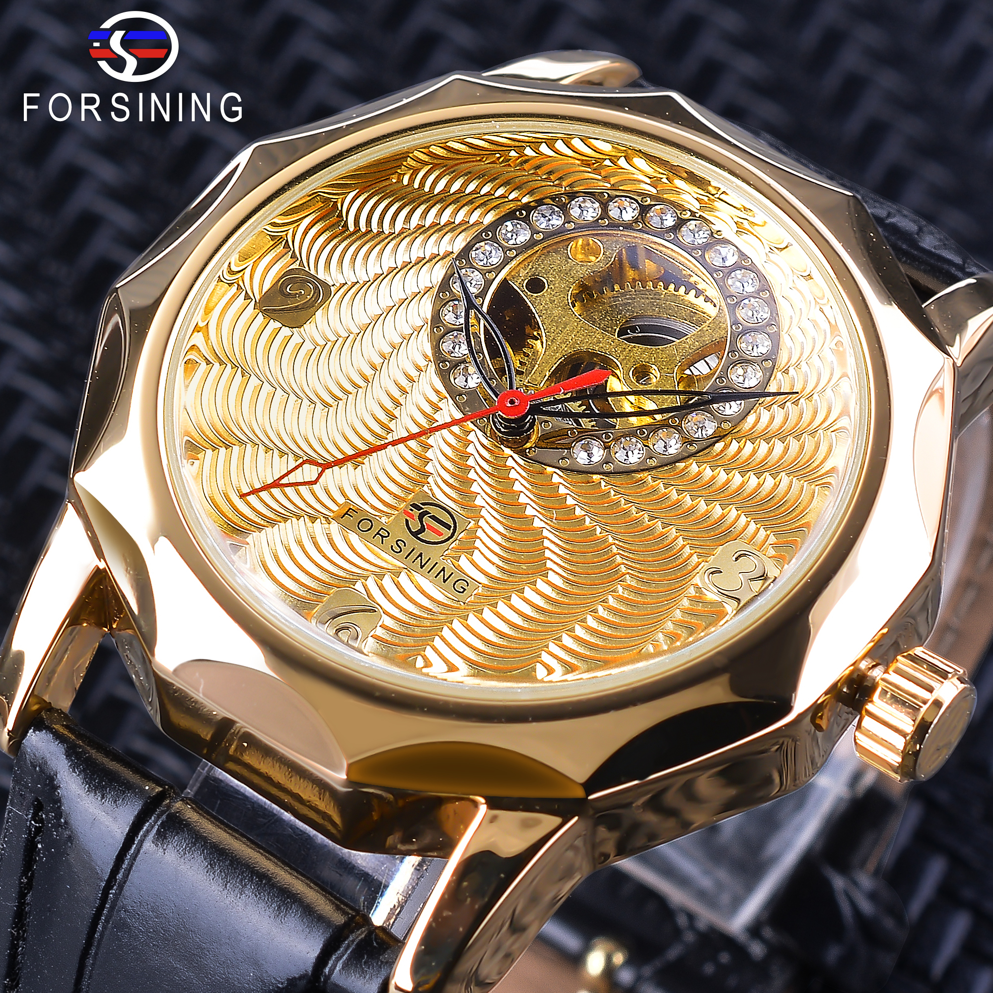 Forsining Fashion Diamond Display Unique Half Skeleton Design Men's Mechanical Watches Gold Watch Black Band Neutral Clock Male