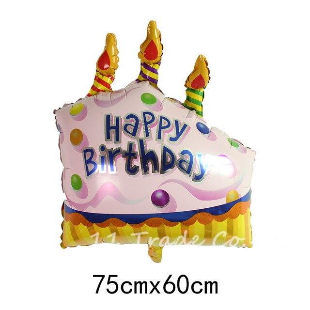 1pcs Pink Happy Birthday Cake Shaped Aluminum Foil Balloons Helium