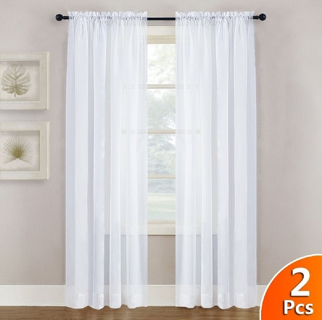 White Sheer Curtains Panels 84 Window Treatment Rod Pocket Sheer