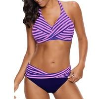eb2b0622edc 2019 Retro Plus Size Tankini Women Striped Halter Crossed Two Pieces  Swimwear Big Cup Push Up