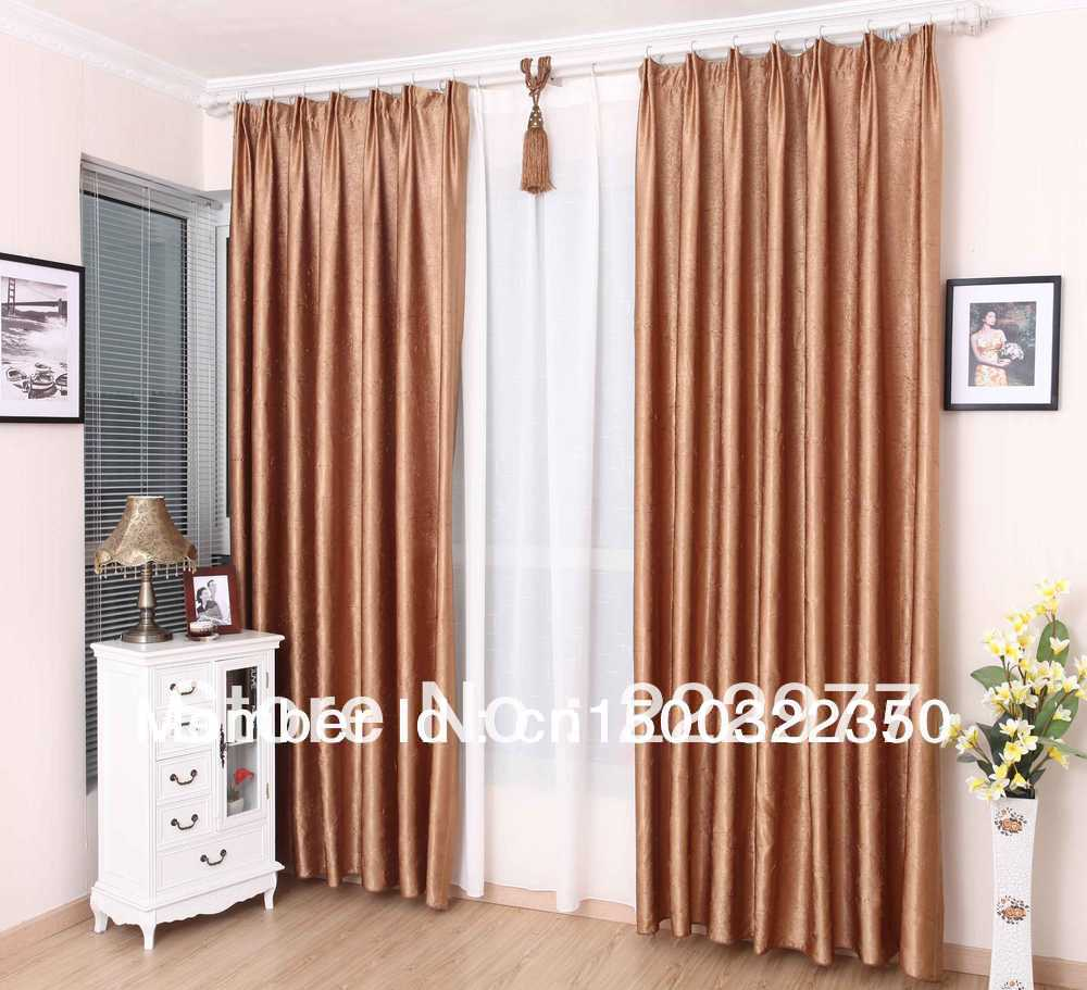 Free Shipping 100% Polyester Pleated Curtain Rose Gold