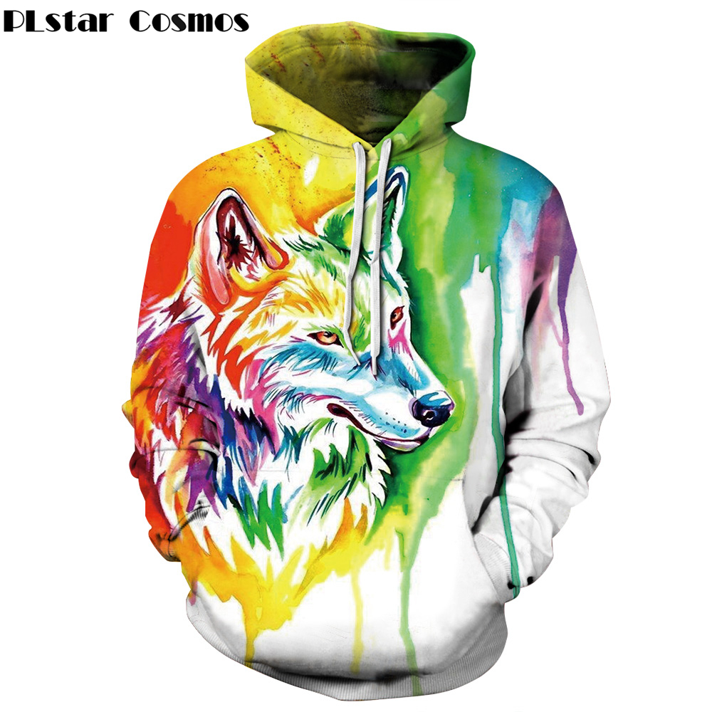 PLstar Cosmos 2017 New Fashion Animal Wolf 3d hoodies Men/Women Sweatshirts Print Paint Wolf Thin Hooded Tracksuits Pullovers