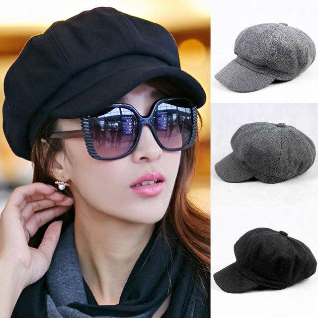 e6487960bb791 Women Solid Color Woolen Gatsby Newsboy Hat Peaked Flat Cabbie Driver Cap  Baker HATCS0033