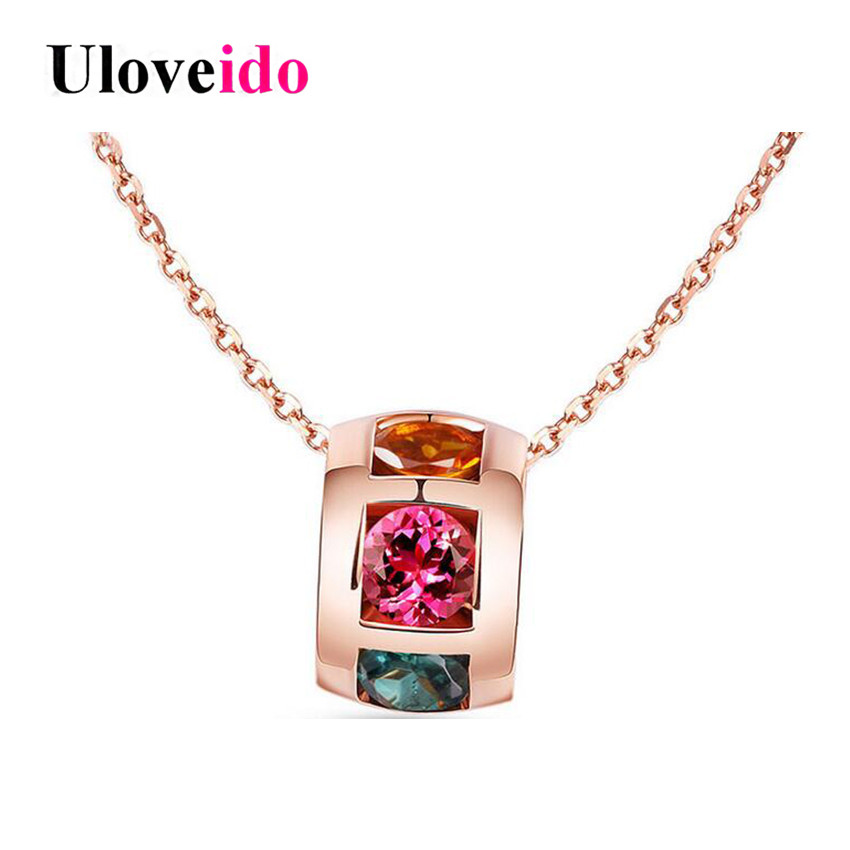 Uloveido Rainbow Necklaces & Pendants Silver 925 Jewelry Colar Circle Chain Rose Gold Color Necklace Women with Box 40%Off LN183