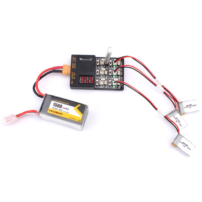 1S Lipo 3.8V LiHv Battery Charger Board 6 In 1 Charging Hub with JST and Micro Losi Cable For KINGKONGLDARC Tiny 6 7 mini Drone