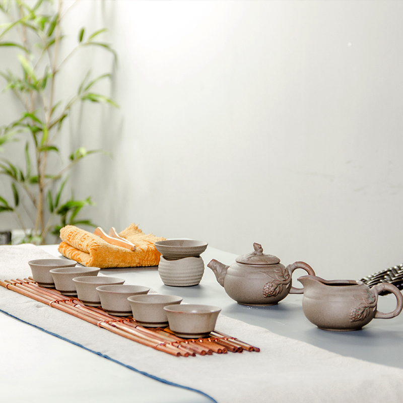 Ensembles de thé exquis Kung fu teaset pour thé vert noir oolong thé poterie brute 1 théière & 6 tasses & 1 fuite de thé & 1 tasse équitable B004