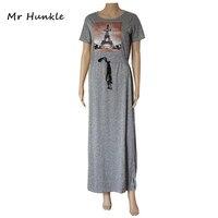 להקת mr hunkle של הגעת נשים חדשות maxi vestidos ארוך שמלות sashes מגדל אייפל printted אותיות תלת ממדיות dress נשים