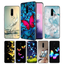 Colorful Butterfly Soft Black Silicone Case Cover for OnePlus 6 6T 7 Pro 5G Ultra-thin TPU Phone Back Protective Fundas Coque
