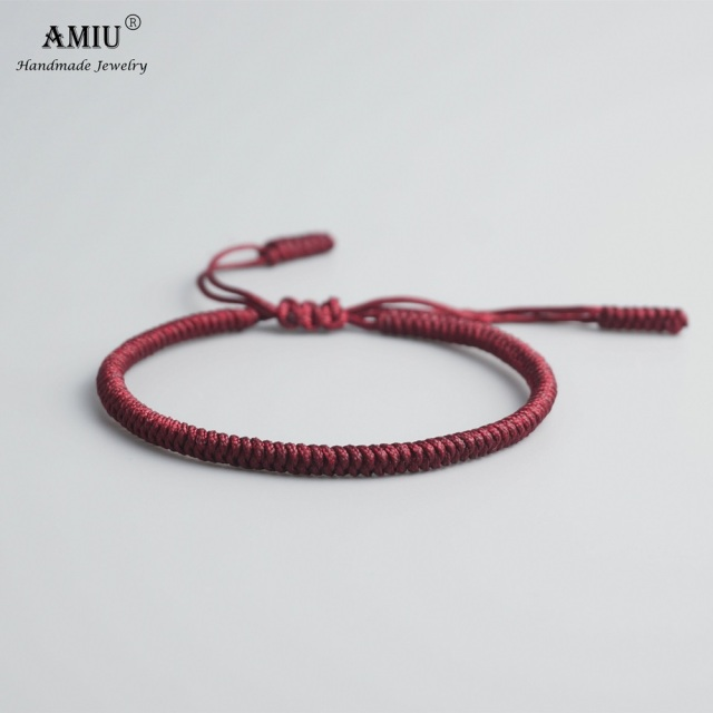 e278b3f289 AMIU Tibetan Buddhist Handmade Knots Lucky Rope Bracelet Size Adjustable  Same Model As Leonardo DiCaprio Protect