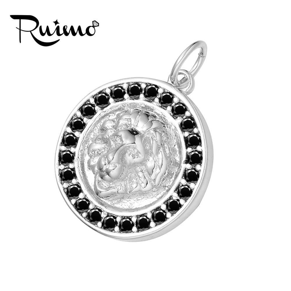 RUIMO Micro Inlays Zircon รอบรูปร่างสร้อยคอจี้โลหะชุบโลหะลูกปัดทองแดงชายรูปแบบสิงโต Charms สำหรับเครื่องประดับทำ