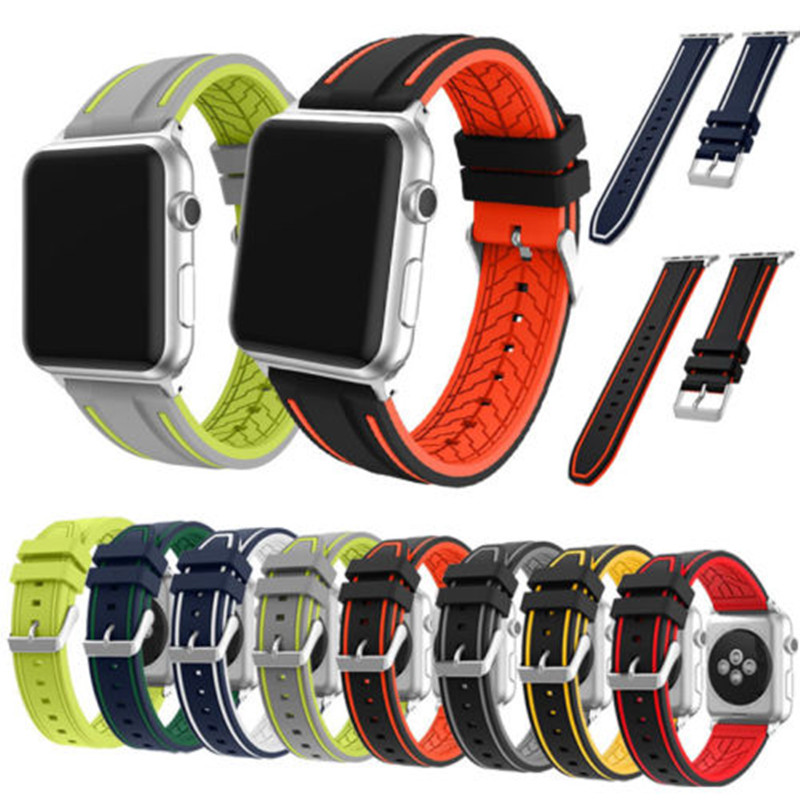 Silicone Wrist Band For Apple Watch 38MM 42MM Replacement Sport Bracelet Strap For iWatch Watchbands Black Red Blue