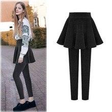 NORMOV Women Winter Thicker Keep Warm Leggings High Waist Elastic Solid Slim Outer Wear Pants Skirt M 6XL Plus Size Leggings