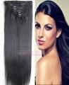 "Envío libre 16 ""-32"" 8 unids Set #1 Jet Negro Remy Indio Extensiones de cabello Suave pelo Clip in/en Extenions Pelo Humano 120g 140g 160g"