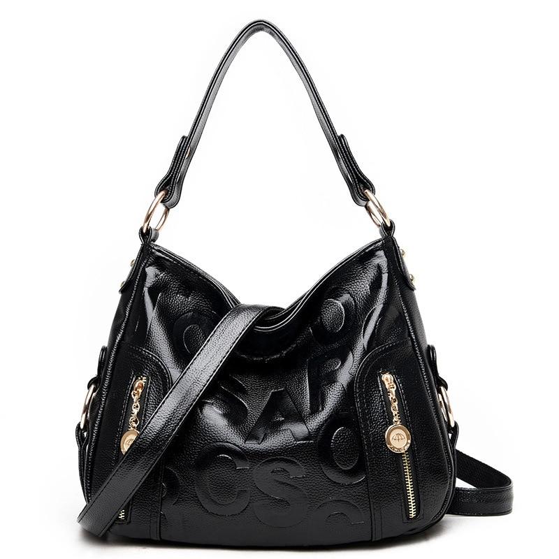 ჱMujeres de moda bolso bolsa de asas de cuero patrón en relieve ...