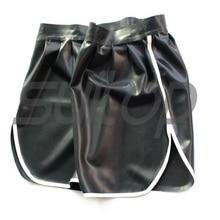 Мужские латексные шорты резиновые высокого качества уровень в черно-белой отделкой