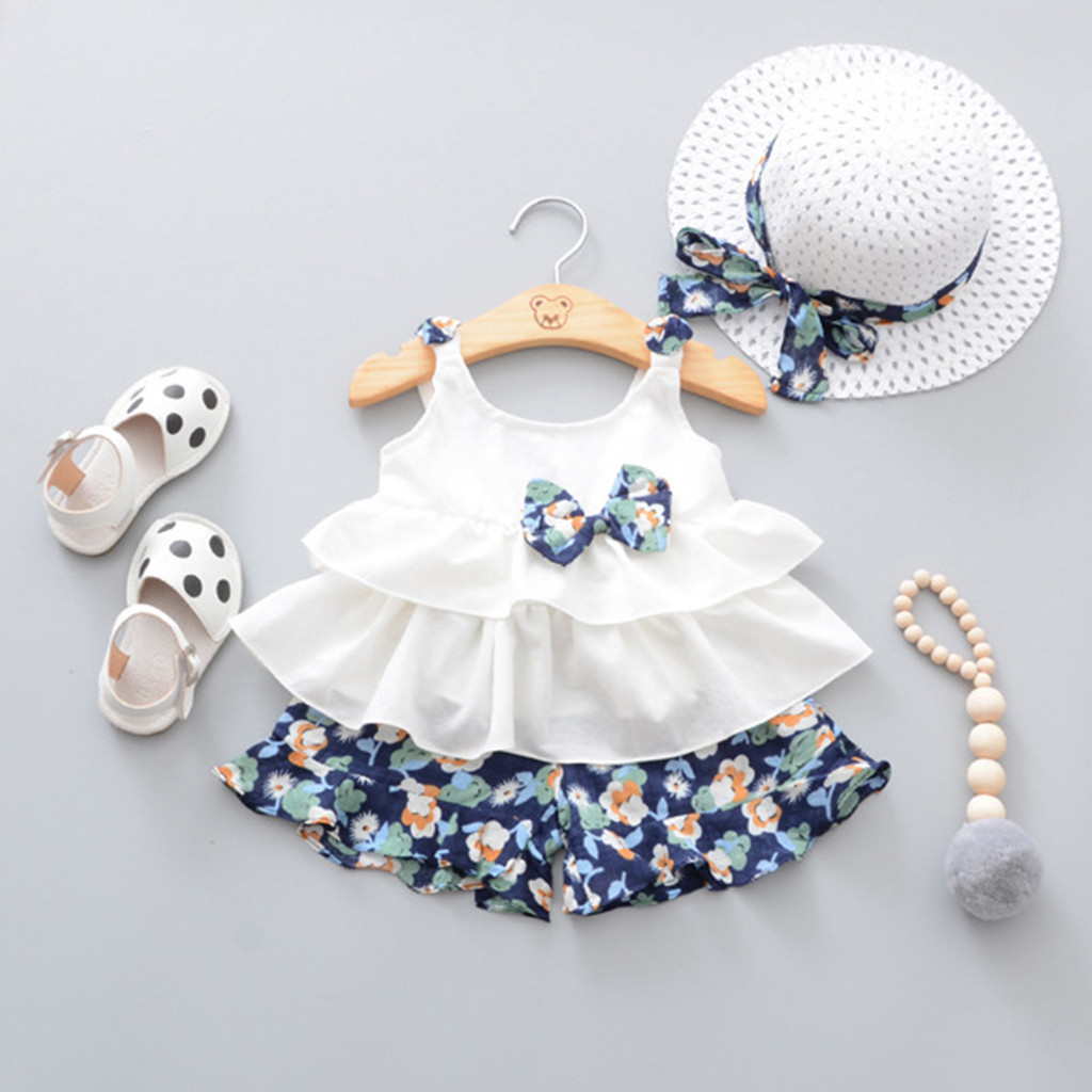 New Summer Baby Girl Sets Clothes Outfit 3Piece Bow White Ruffles Tops+Floral Print Shorts+Hat Kit Dropshipping Roupa Infantil
