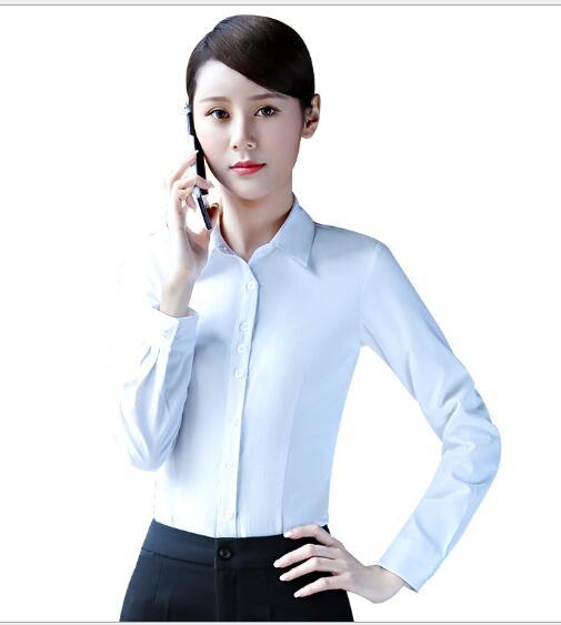 84fb2b196a8 Весенняя мода женская одежда Длинные рукава белые блузки формальный тонкий рубашка  офисные женские большие размеры Топы