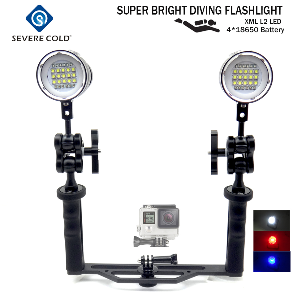 Severe Cold Professional Diving Video Light Underwater Handheld Photography White Red UV Light LED Photography Scuba