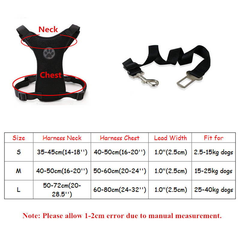 Breathable Mesh Dog Harness Leash With Adjustable Straps Pet Harness With Car Automotive Seat Safety Belt Dog Chest Straps (2)