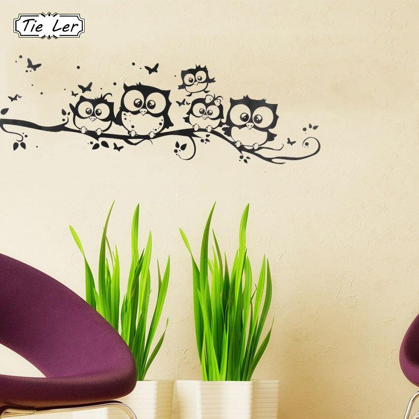 TIE LER Super Deal Decals Wall Art DIY Children Sticker Vinyl Cartoon Owl Butterfly Wall Sticker Home Decor