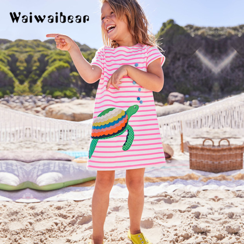 Kids Summer Dress New Princess Short  Sleeve Children Cotton Costume Dresses for Girls