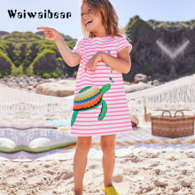Kids Summer Dress New Princess Short  Sleeve Children Cotton Costume Dresses for Girls