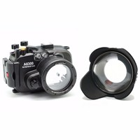 Meikon 130ft Underwater Camera Housing Case for sony A6300 Camera + Wide Angle Dome Port lens + 67mm red filter