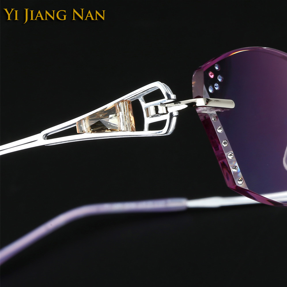 Damenbrillen Aufstrebend Yi Jiang Nan Marke Diamant Titan Rahmen Farbton Linsen Randlose Brillen Rahmen Mode Frauen Dioptr Occhiali Da Vista Seien Sie In Geldangelegenheiten Schlau