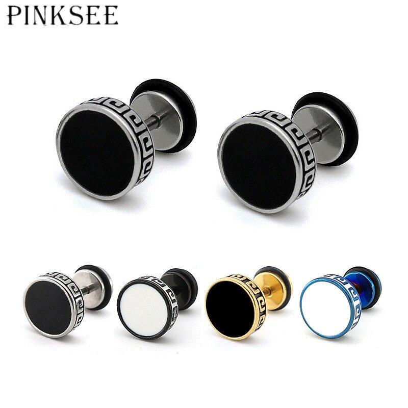 PINKSEE 1pc Oil Drip Stainless Steel Men Stud Earrings Ear Plugs Cheater Fake Expander Ears Stud Stretcher Piercing Body Jewelry