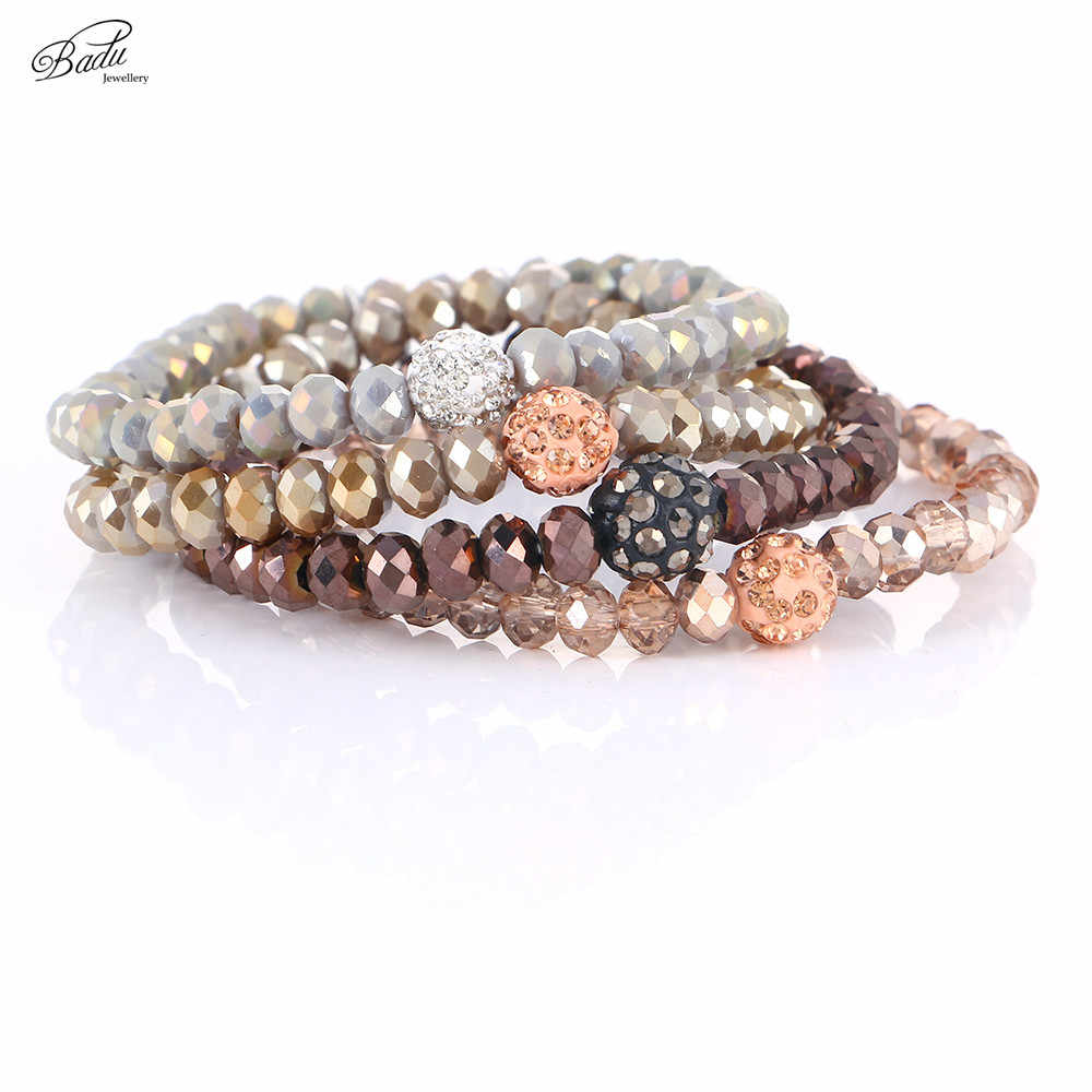 Badu Chocolate Beads Bracelets Best Friend Gift Faceted Crystal Beaded Bracelet Women Elastic Rope Trendy Jewelry Christmas