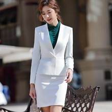 Office Suit for Woman Uniform Designs Elegant Full Sleeve White Slim Ruffle Blazer Skirt 2 Pieces Interview Suits ow0515