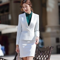 87cfe1c184 Office Suit For Woman Office Uniform Designs Elegant Full Sleeve White Slim  Ruffle Blazer Skirt 2
