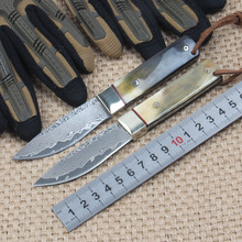 Free Fast Shipping New Damascus steel knife 58HRC handle material natural horn flower outdoor survival tool