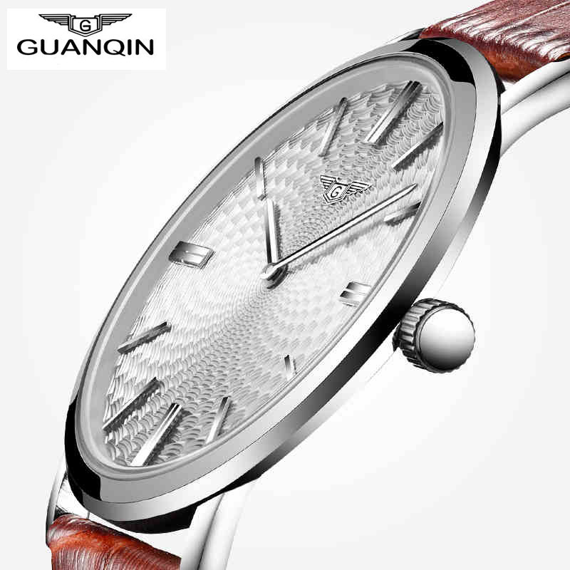 GUANQIN Brand Men Watch Male Clock Simple Hour Time Relojes Hombre Super Slim Waterproof Casual Leather Strap Relogio Masculino men s quartz relogio masculinos dial glass time men clock leather business round case hour watch relojes hombre levert dropship