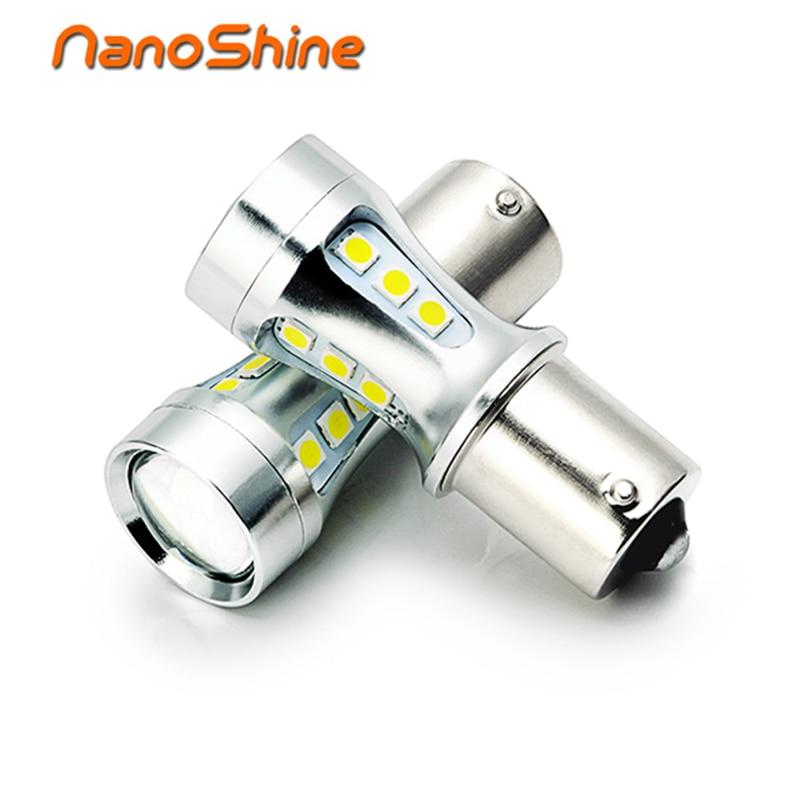Nanoshine 2X LED P21W 1156 Ba15s S25 18 SMD 3030 car tail light bulb 6000K white auto DRL fog  reverse clearance  lamp 12V 24V 12v led light auto headlamp h1 h3 h7 9005 9004 9007 h4 h15 car led headlight bulb 30w high single dual beam white light