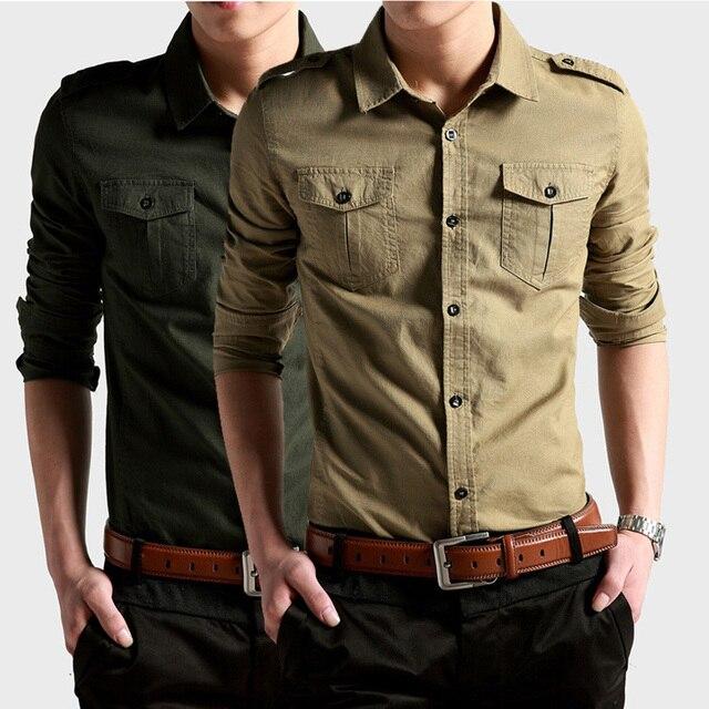 93b515fd32f8 6172 New Mens Outdoor military double pocket Long sleeve Designer Fashion  100%Cotton Luxury Stylish Casual Dress Slim Shirts