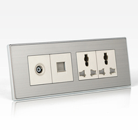 197 72MM 10A 110 250V Luxary Silver Wall Outlet Panel TV Telephone 6 Hole Multifunction Wall