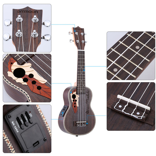 Ukulele Guitar with Built-in EQ Pickup
