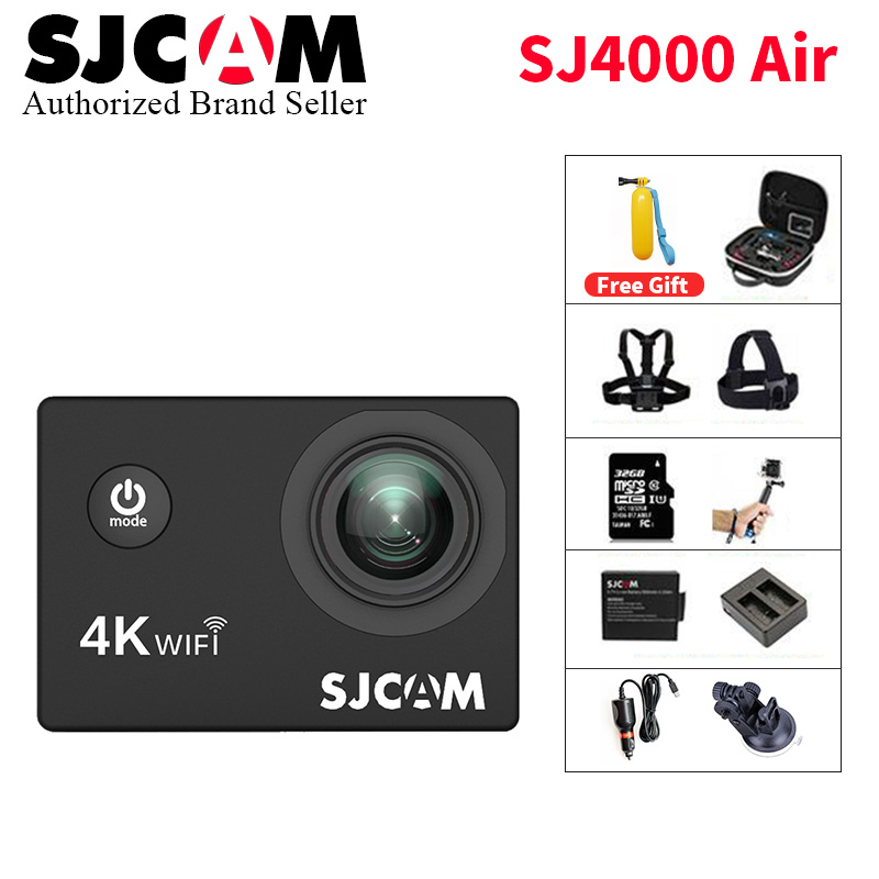 Cheap SJCAM SJ4000 AIR 4K Action Camera Full HD 4K 30fps WiFi Sport DV Mini Helmet Camera Waterproof Sports DV J CAM 4000 Series wimius 20m wifi action camera 4k sport helmet cam full hd 1080p 60fps go waterproof 30m pro gyro stabilization av out fpv camera