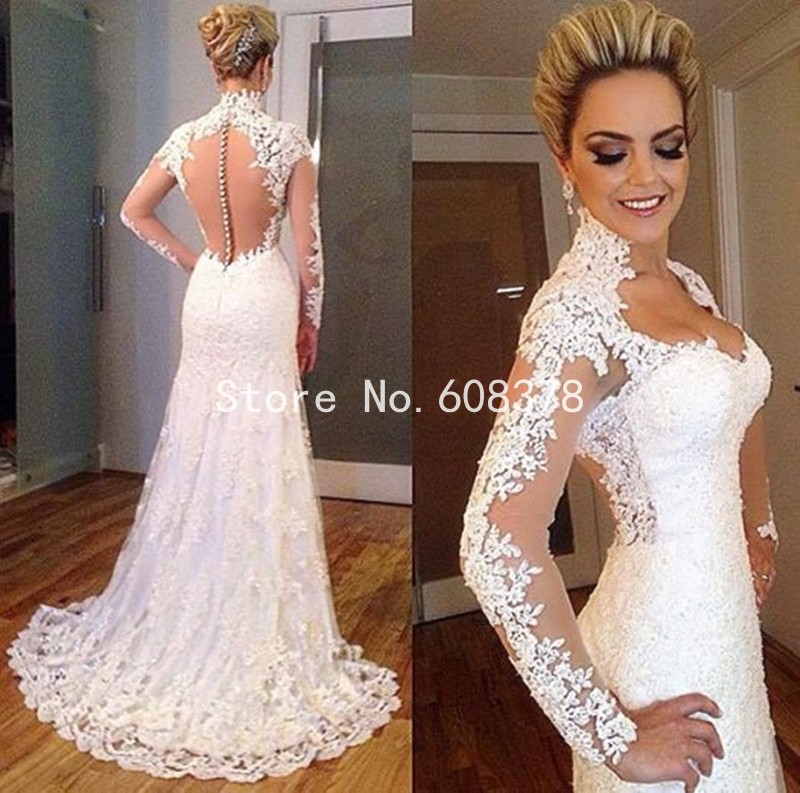 Elegant Simple Long Sleeve Wedding Dresses With Lace 2015: Sexy Lace Mermaid Wedding Dresses 2015 Sweetheart Court
