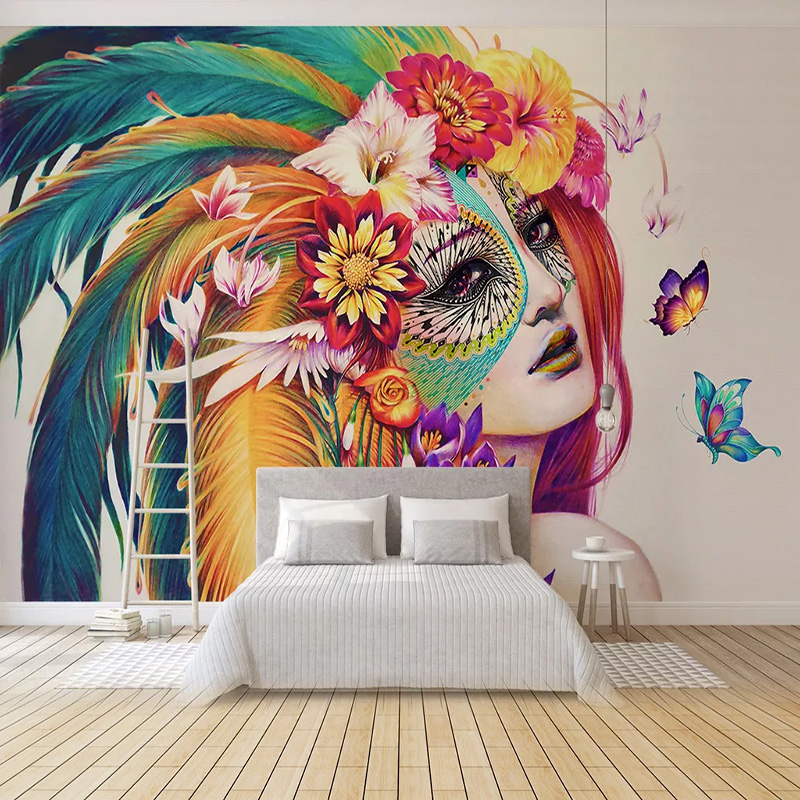 Custom Any Size Mural Wallpaper European Style Colorful Figure Photo Wall Painting Living Room Bedroom Self-Adhesive Wallpapers