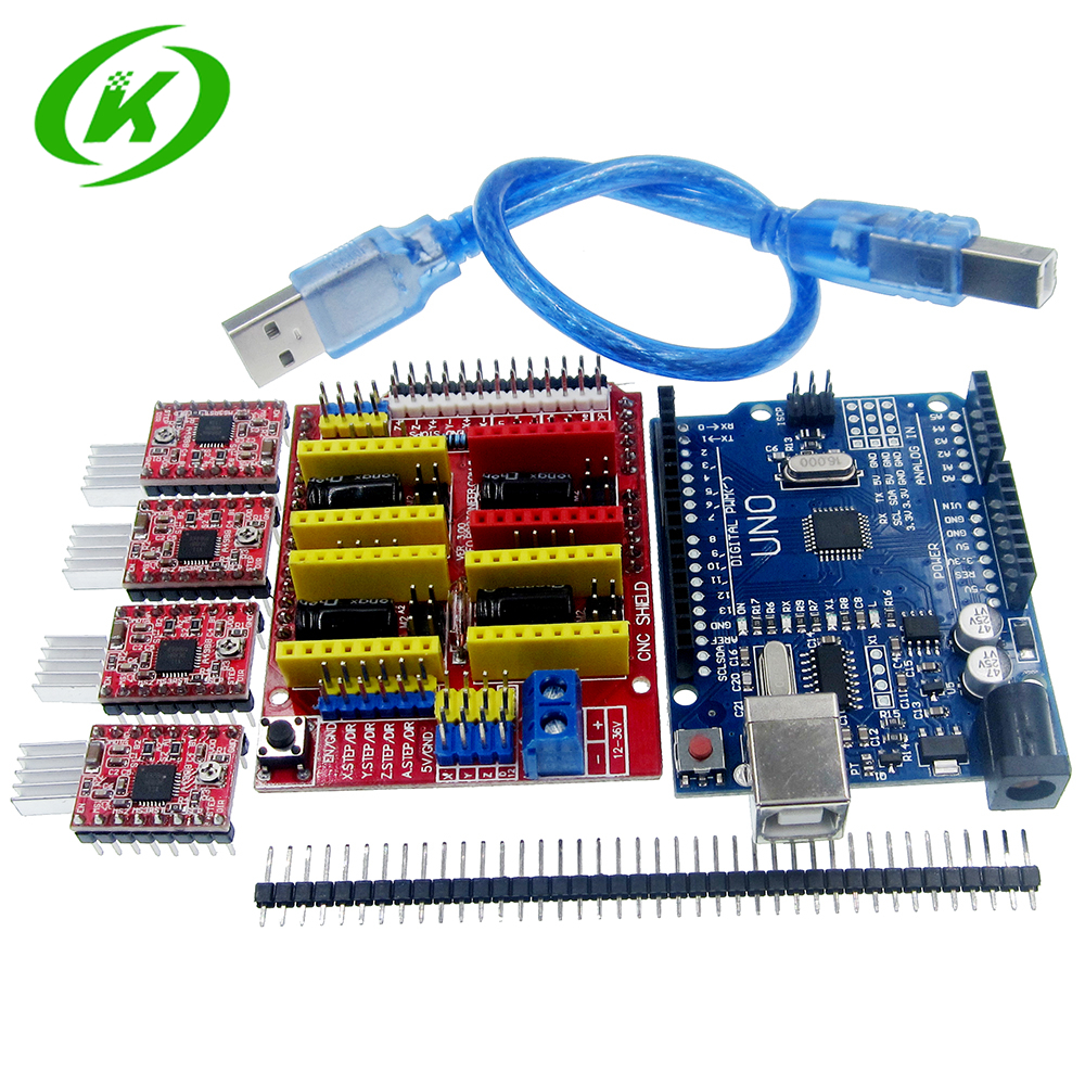 cnc shield v3 engraving machine 3D Printer+ 4pcs A4988 driver expansion board UNO R3 with USB cable 4x a4988 stepper motor driver with heat sink cnc shield expansion board for arduino uno r3 v3 engraver 3d printer